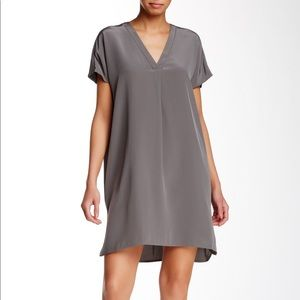 Vince   Dove Gray V-Neck Silk Tee Dress